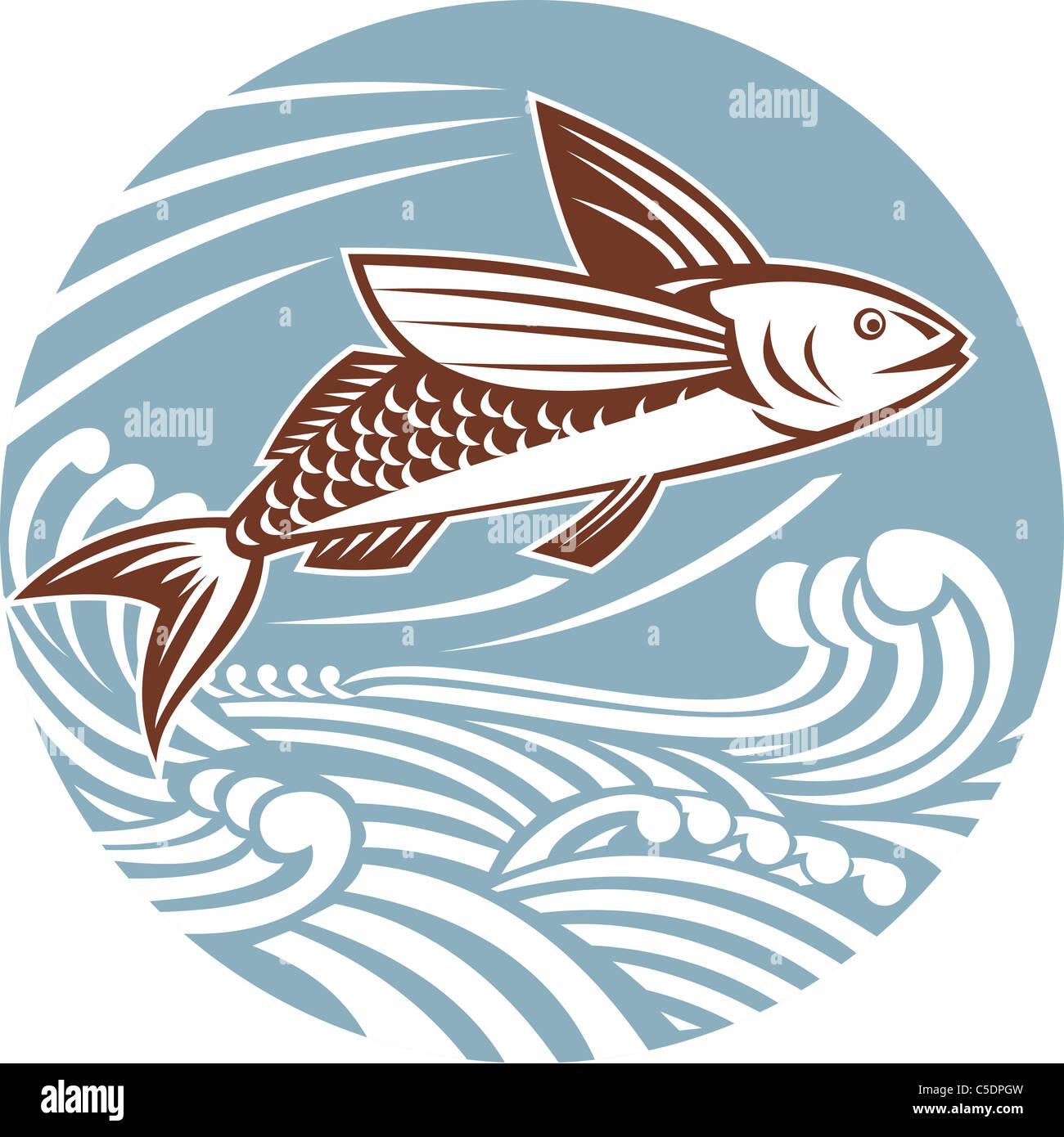 Illustration d'un poisson volant avec des vagues fait dans le style rétro situé à l'intérieur Photo Stock