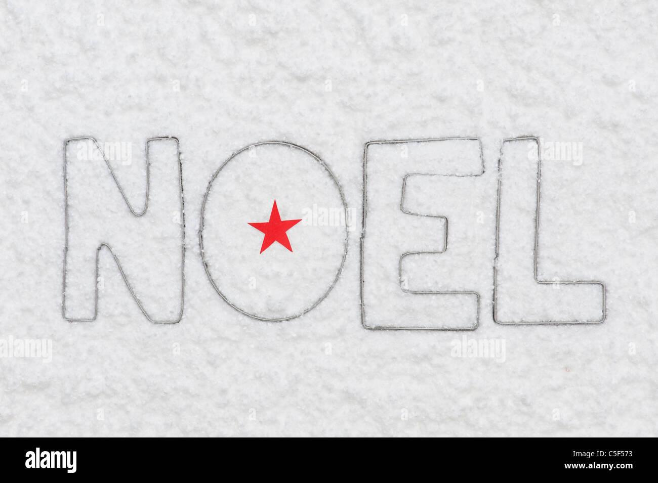 NOEL . Star des lettres et de la neige Photo Stock