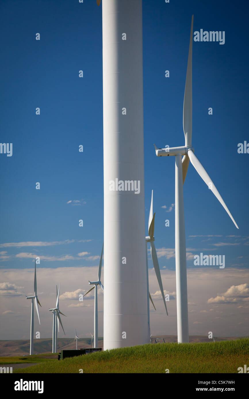 Éoliennes dans la partie inférieure de la rivière Snake, Projet d'énergie éolienne Photo Stock