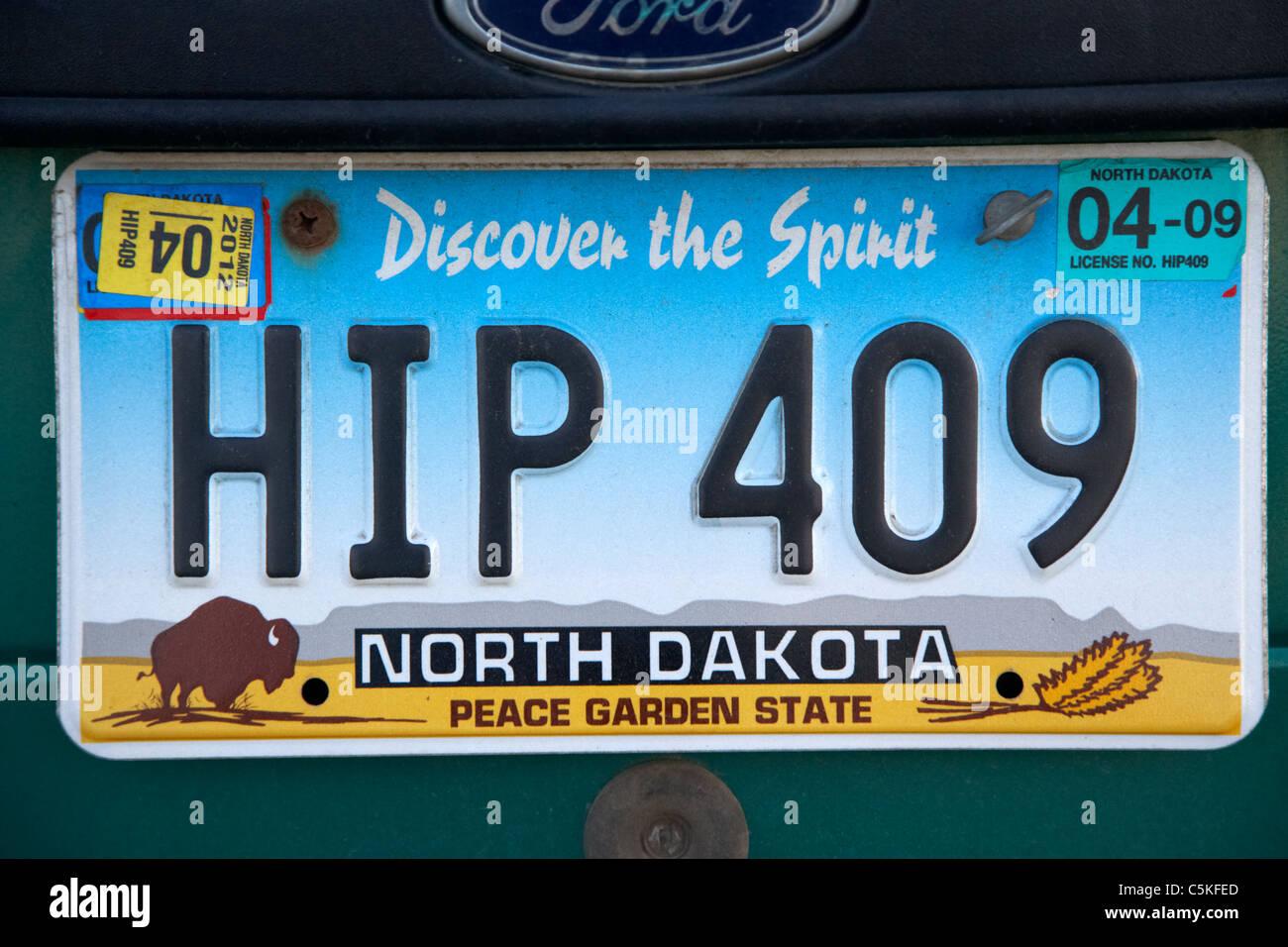 Découvrez l'esprit peace garden state Dakota du nord de l'état de la plaque d'immatriculation Photo Stock