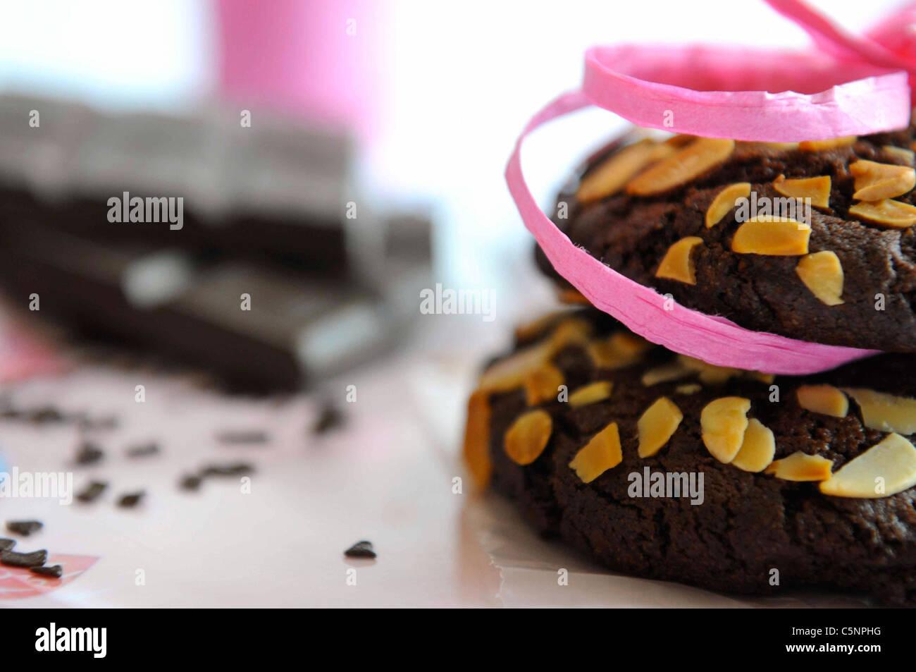 Triple chocolat cookies aux amandes Photo Stock