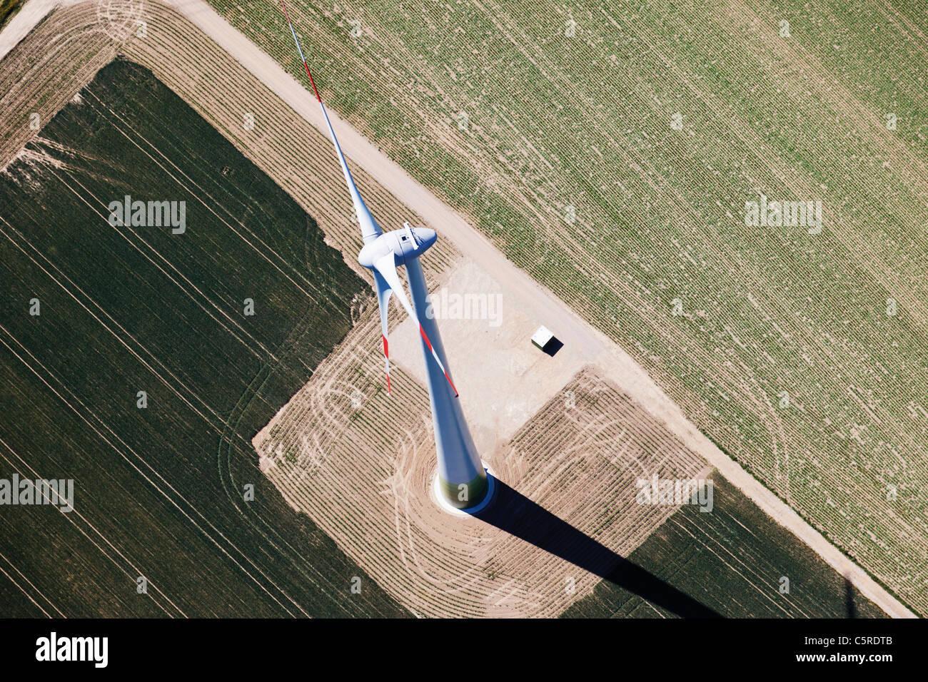 L'Europe, l'Allemagne, la Rhénanie du Nord-Westphalie, vue aérienne de la roue éolienne Photo Stock