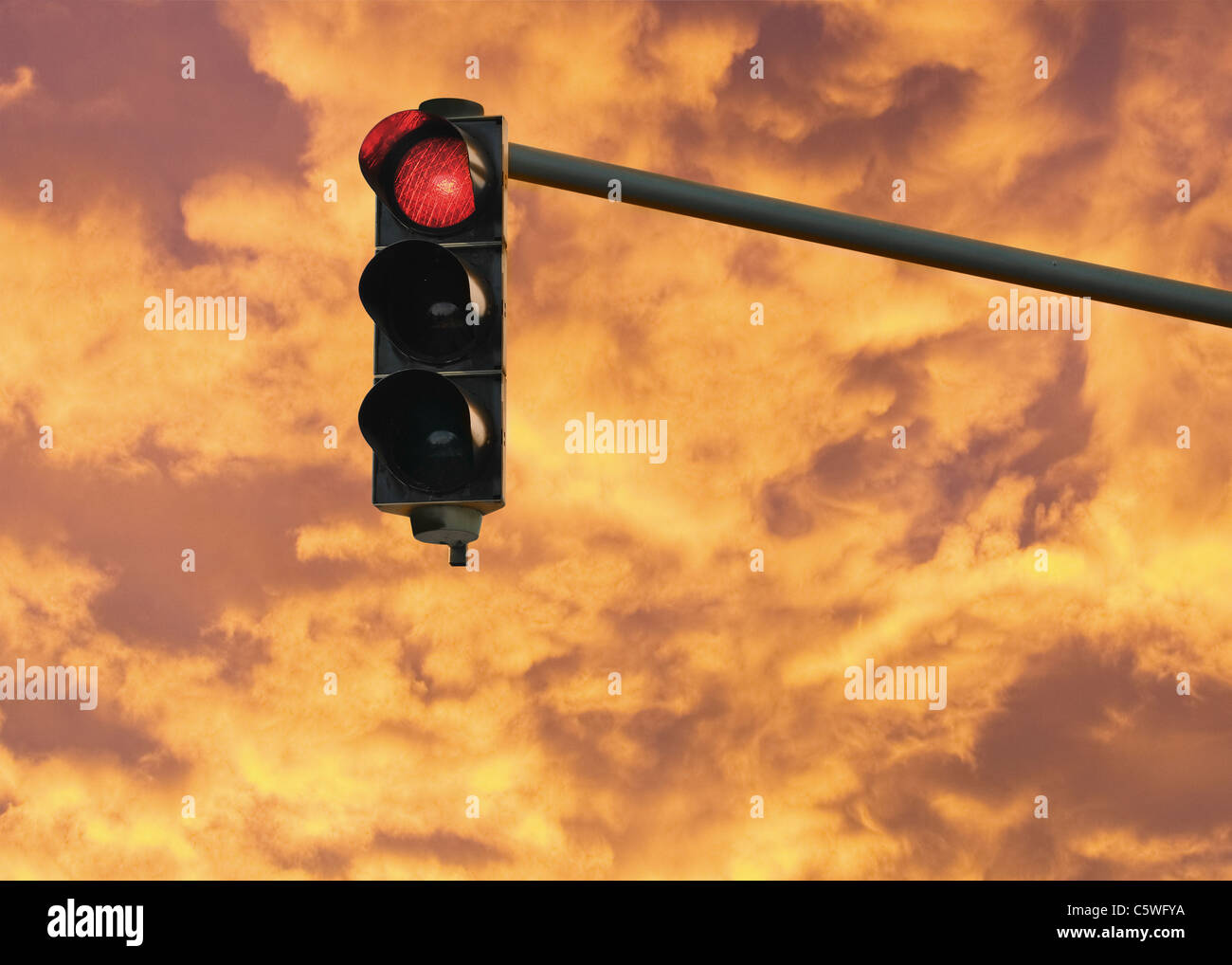 Allemagne, vue de feu montrant red light Photo Stock