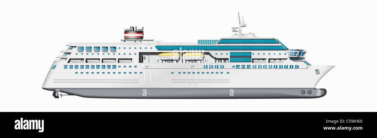Illustration de navire de croisière against white background, Close up Photo Stock