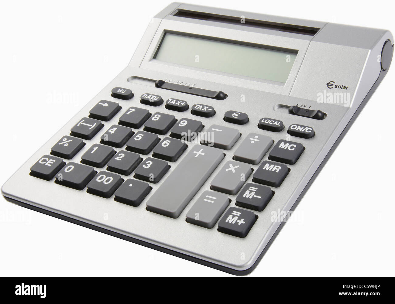 Calculatrice de bureau sur fond blanc, Close up Photo Stock