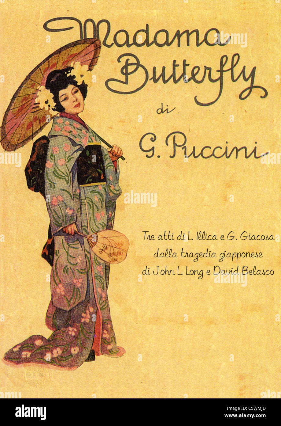 L'affiche de Madame Butterfly de Puccini pour Opera Photo Stock