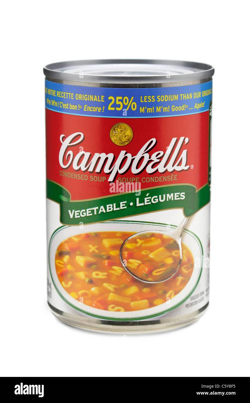 Soupes Campbell, de l'étain peut de soupe de légumes, Campbell's Soup Photo Stock
