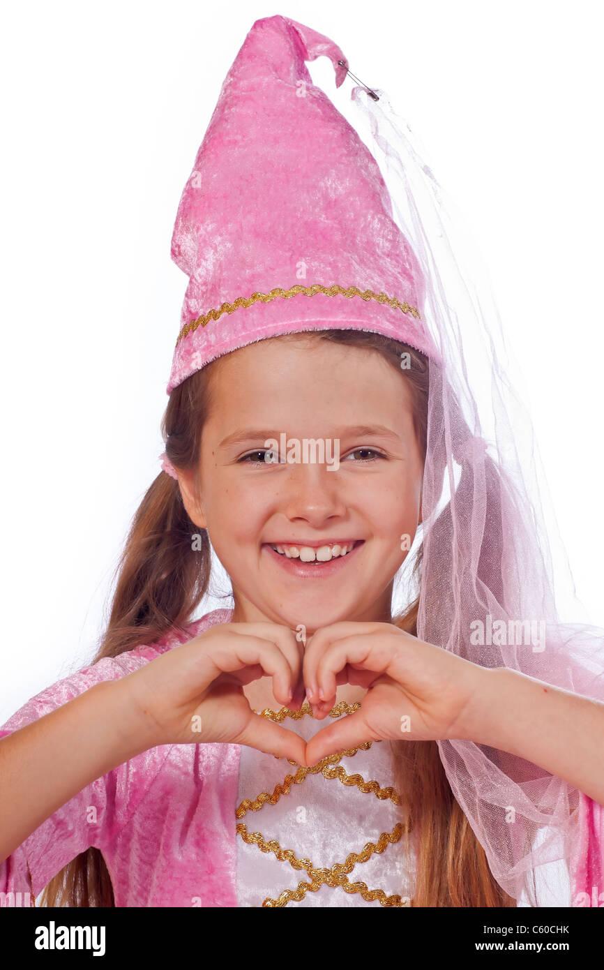 Fillette de huit ans dans un costume habillé comme une fée Photo Stock