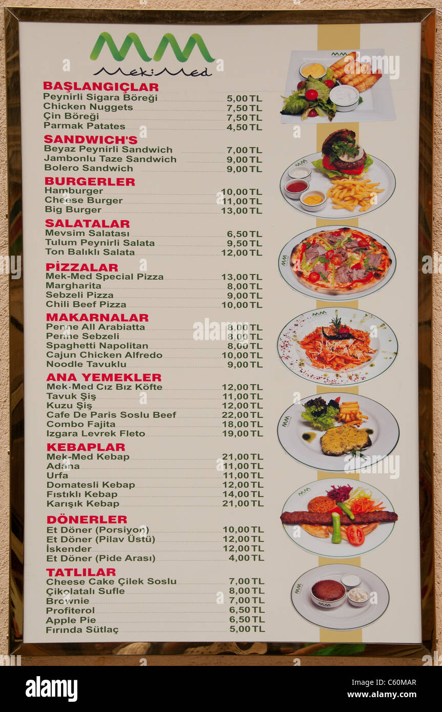 L'alimentation Menu Diner Restaurant Sign Turquie Turc Banque D'Images