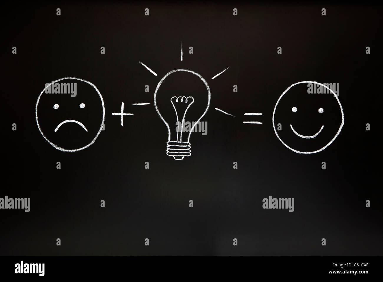 Une bonne idée peut tout changer! Concept de créativité, illustré de la craie sur un tableau Photo Stock