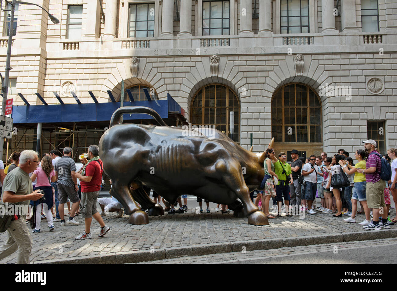 Bull charge, Bowling Green Park, New York, Manhattan, États-Unis. Photo Stock