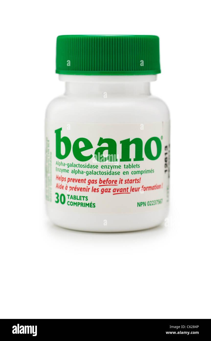Beano, enzyme Alpha-Galactosidase comprimés pour la prévention des gaz Photo Stock
