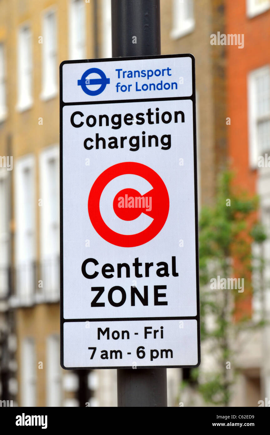 Signe de la congestion charge, Londres, Angleterre, Royaume-Uni, Congestion Charge sign Photo Stock