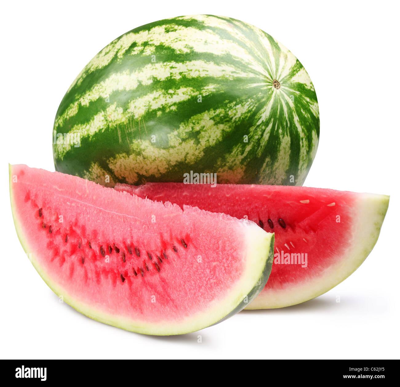 Avec des tranches de melon d'isolé sur fond blanc. Le fichier contient un chemin d'accès à Photo Stock