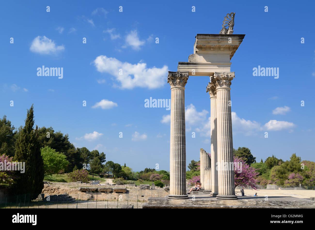 Temple romain à la ville romaine de Glanum, Aix-en-Provence, Provence, France Photo Stock