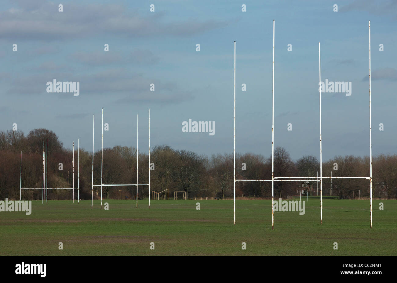 Rugby posts sur emplacements adjacents Photo Stock
