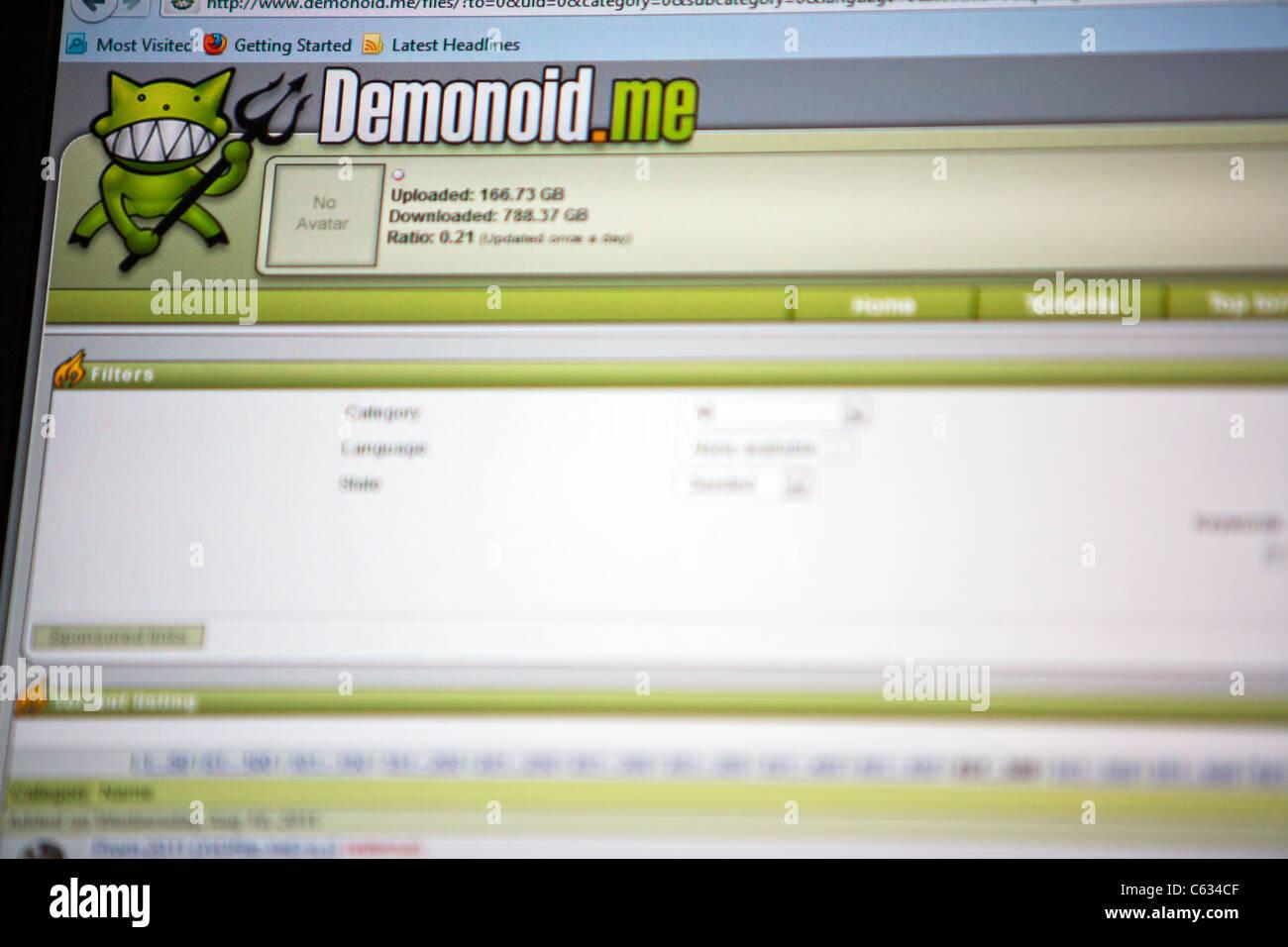 Logo du site de téléchargement illégal bit torrent demonoid image haute résolution prises à Photo Stock