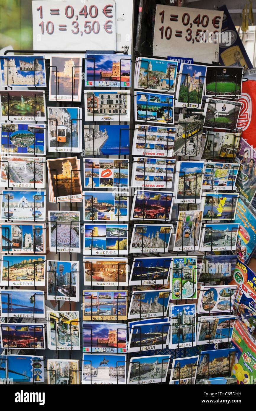 Cartes postales à vendre, Lisbonne, Portugal Photo Stock