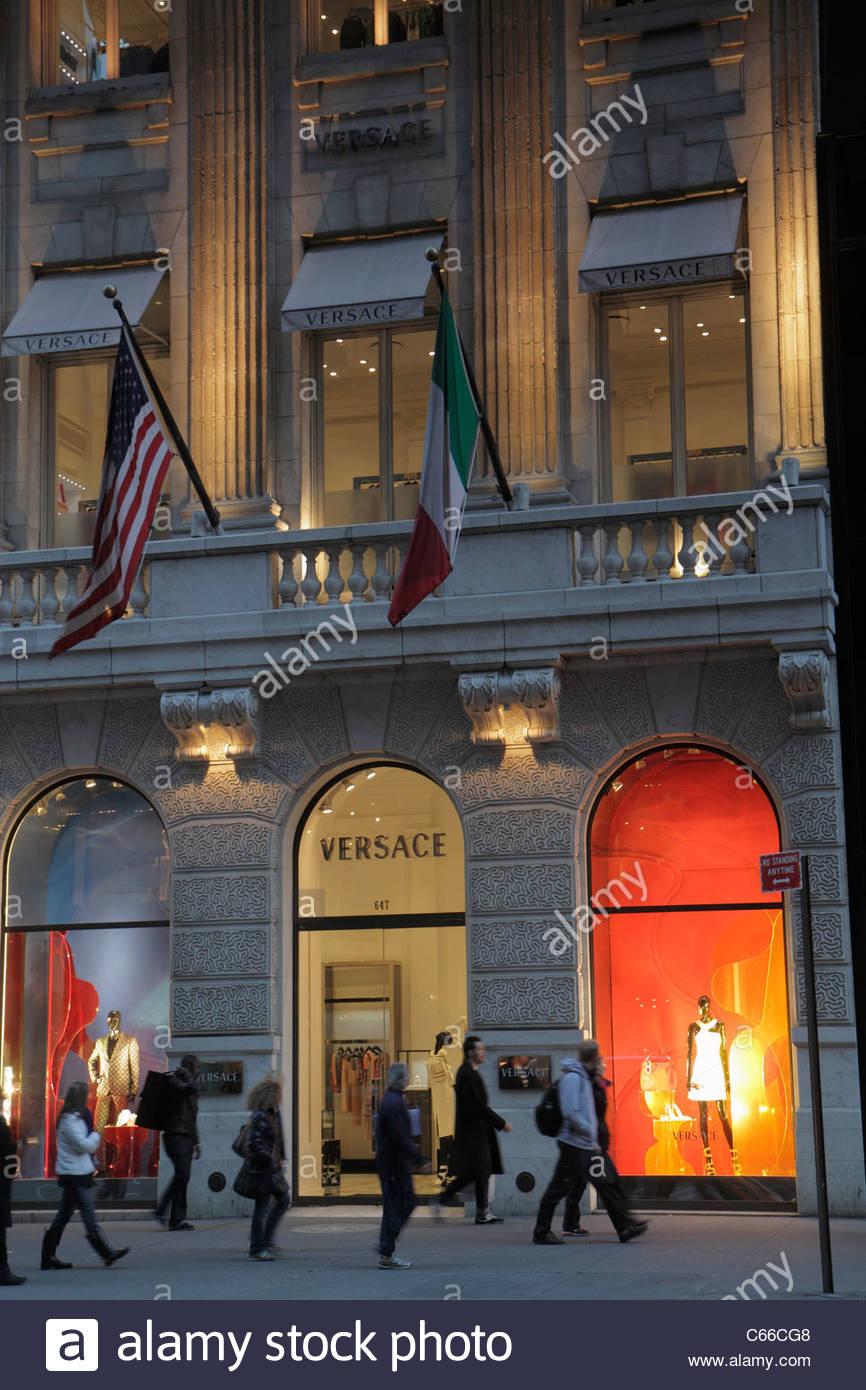 ca61097122 Manhattan New York NYC NY Midtown Fifth Avenue 5ème italien Versace couture  fashion boutique design shopp marque de luxe