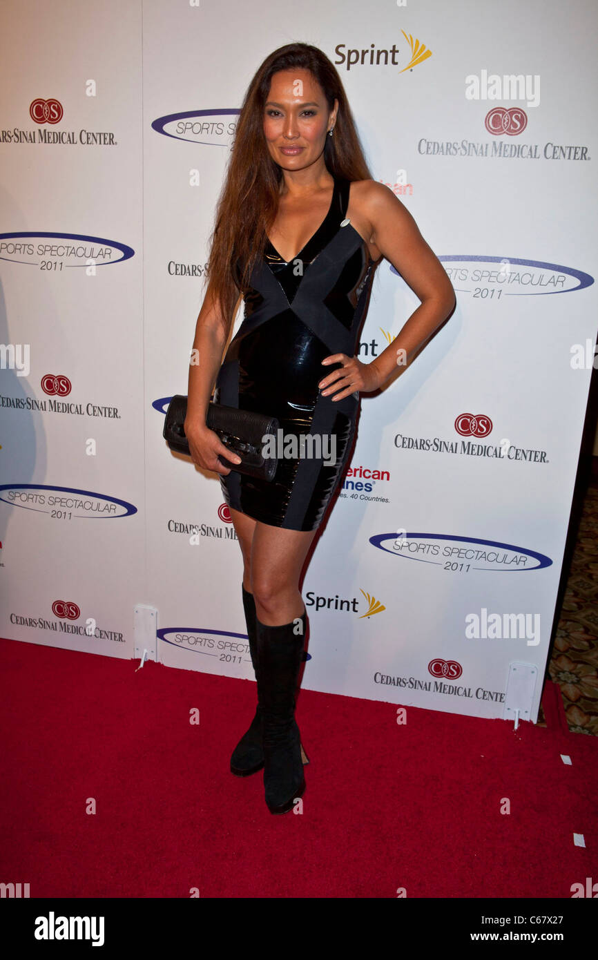 Tia Carrere au 26e anniversaire de l'arrivée spectaculaire des Sports, Hyatt Regency Century Plaza Hotel, Photo Stock