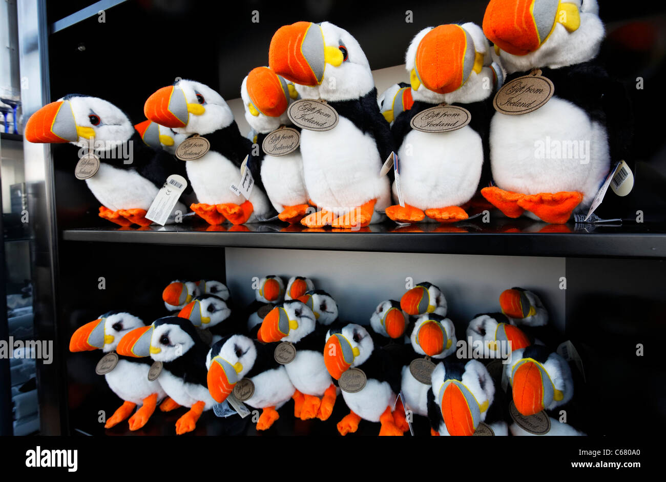 Peluches de Souvenirs à vendre, Reykjavik, Islande Photo Stock