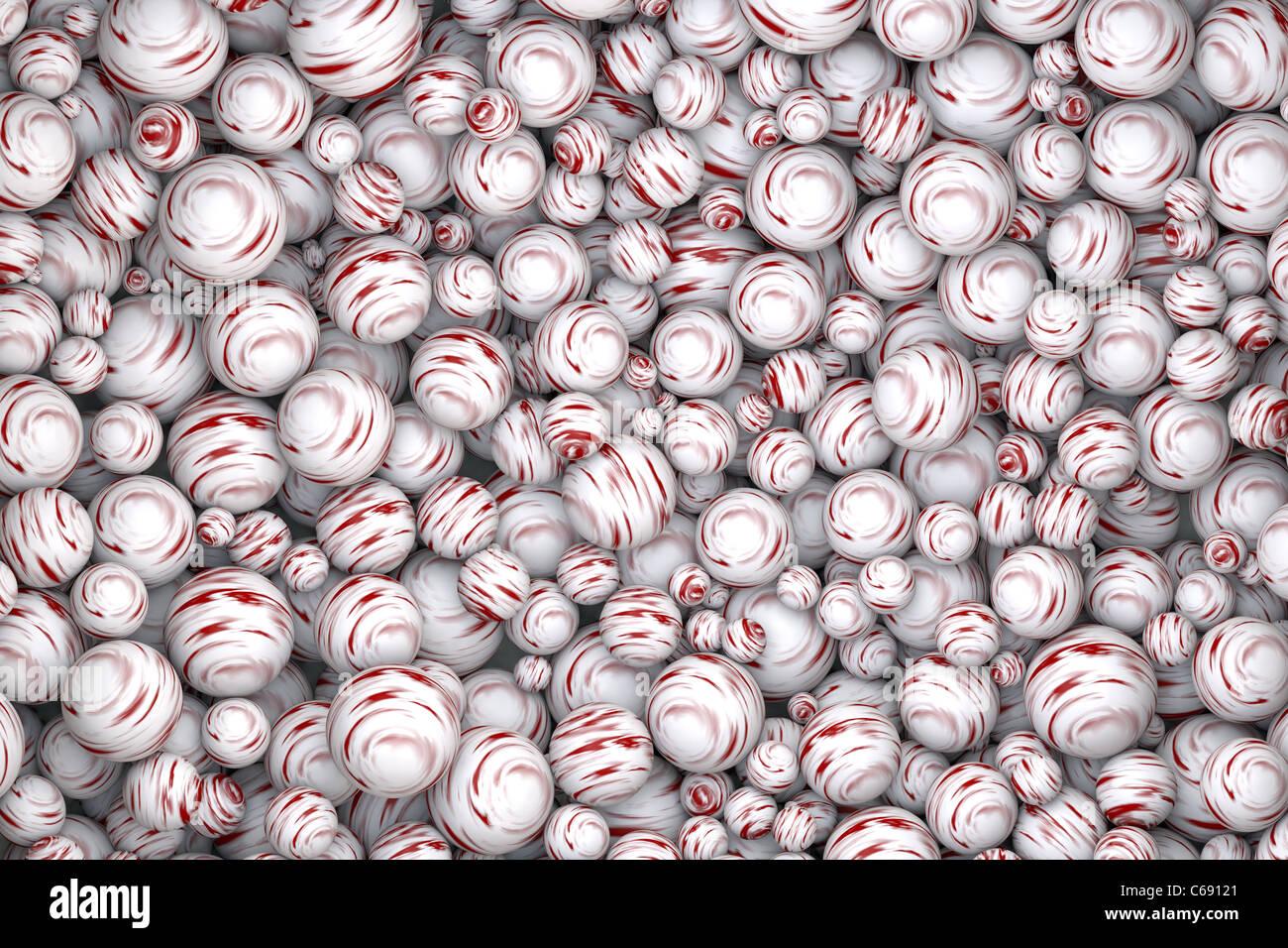 Fond d'écran de résumé des boules rouge et blanc texturé Photo Stock