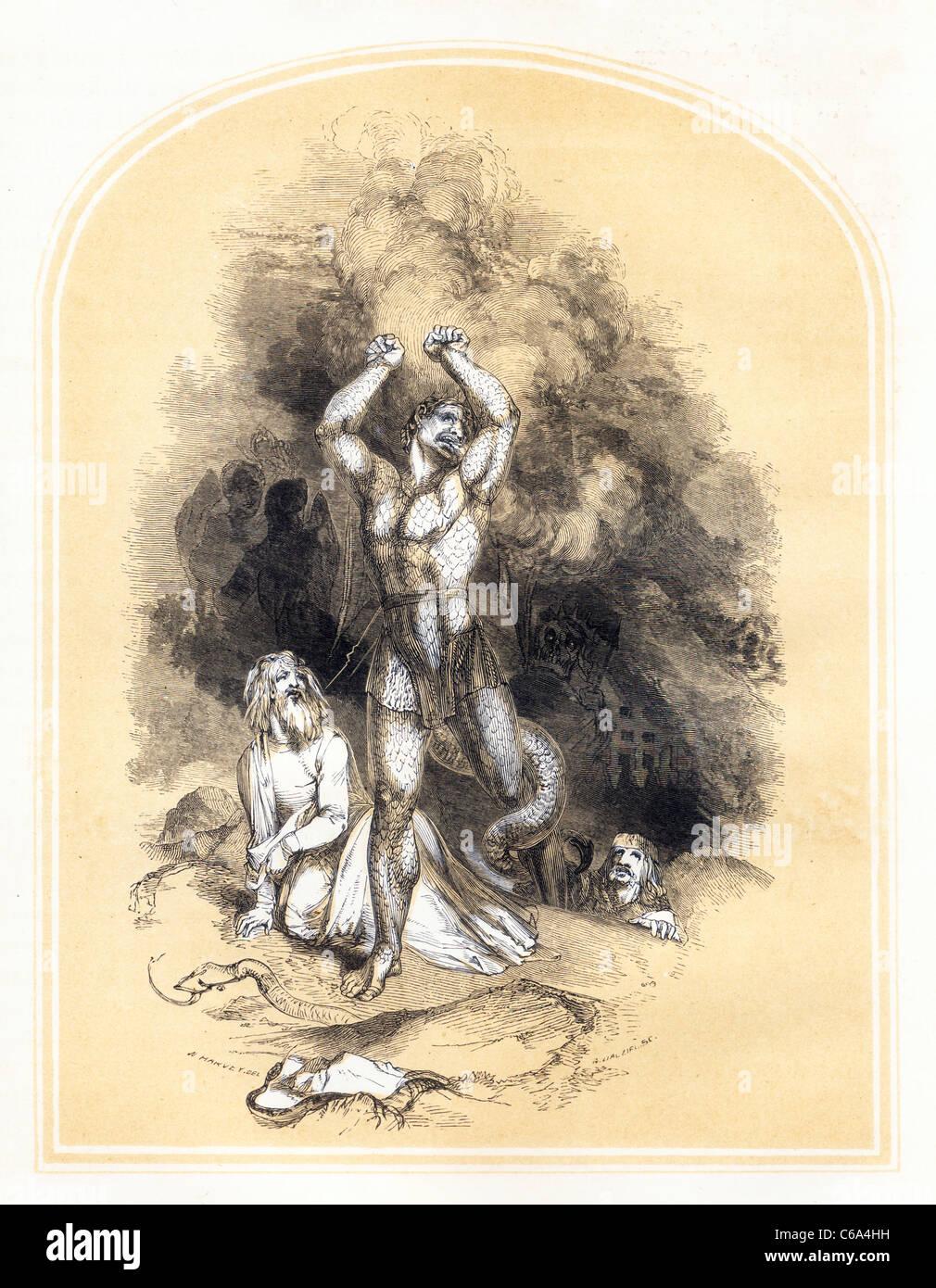 Diabolous fait rage de John Bunyan's Holy War Photo Stock