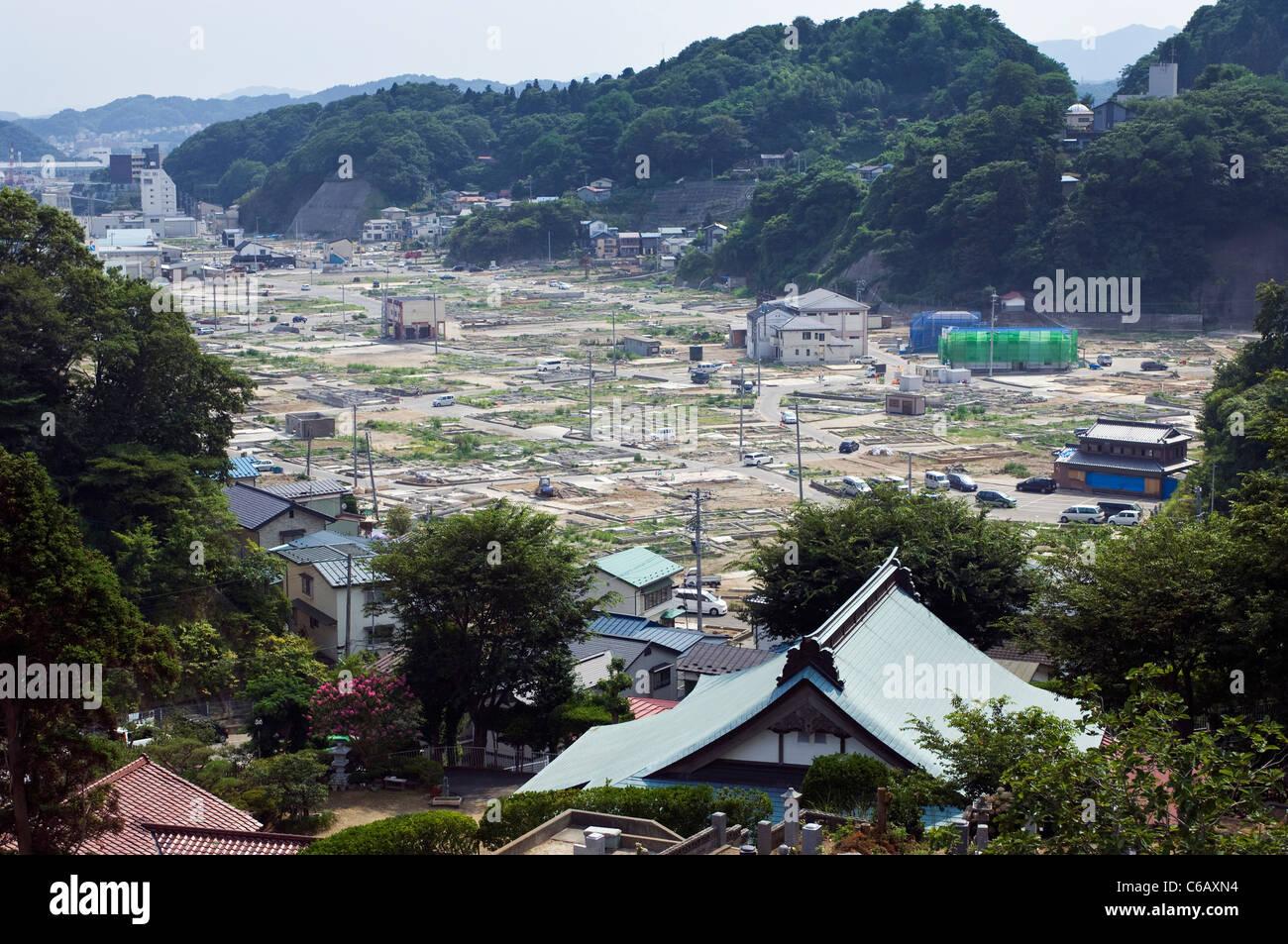 Une partie de la ville de Miyako montrant les dégâts du tsunami Photo Stock