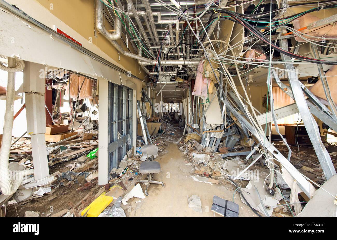 Une clinique dans la ville de Taro, qui a été détruit par le tsunami Photo Stock