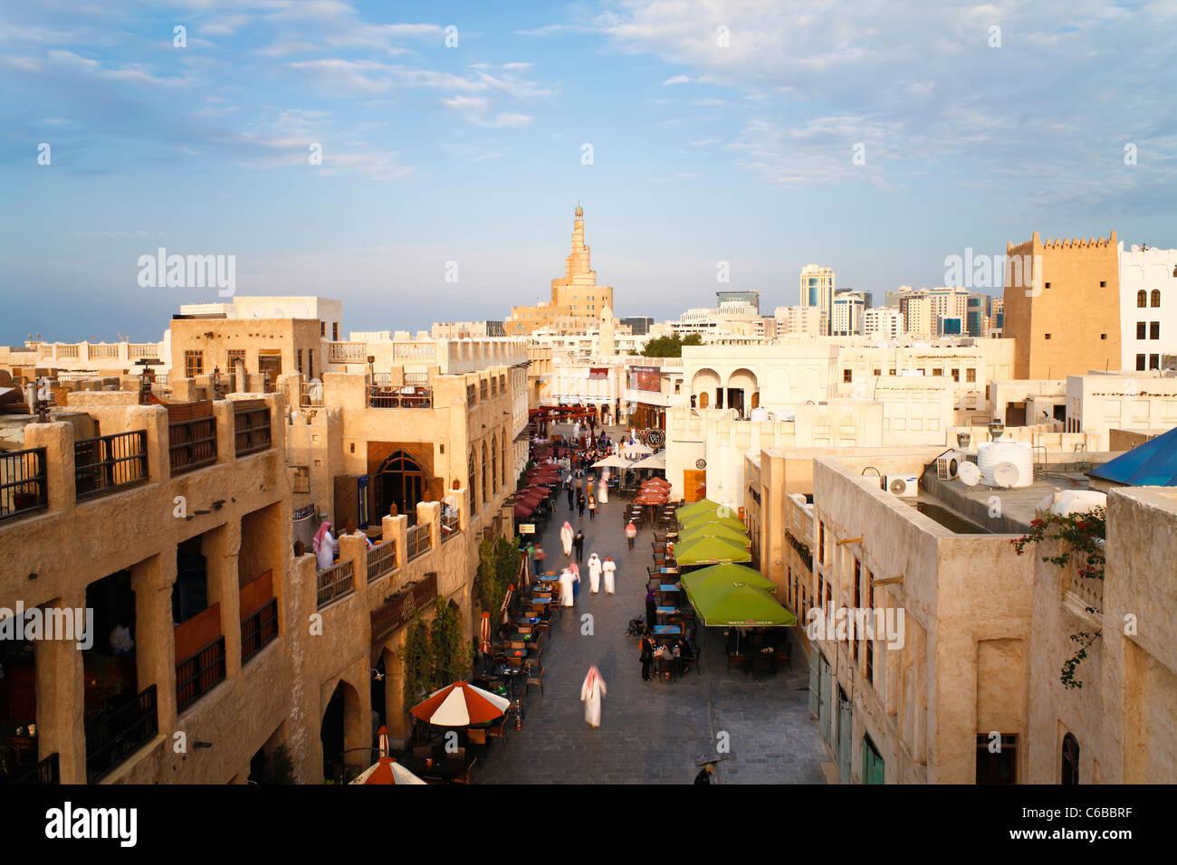 Le Qatar, au Moyen-Orient, Péninsule Arabe, Doha, le Souq Waqif restauré Photo Stock