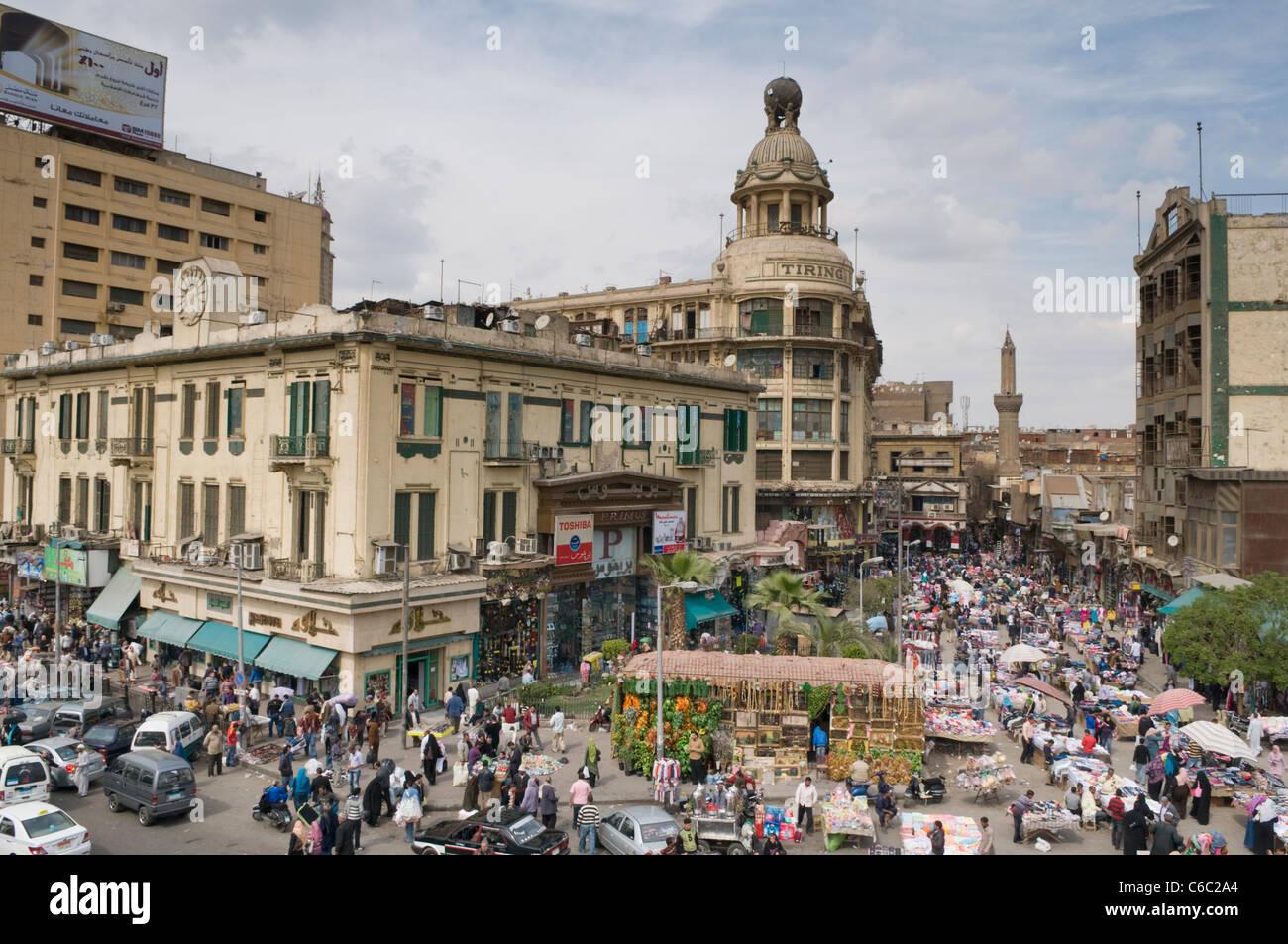 Vue aérienne d'un quartier typique, souk au Caire en Égypte Photo Stock