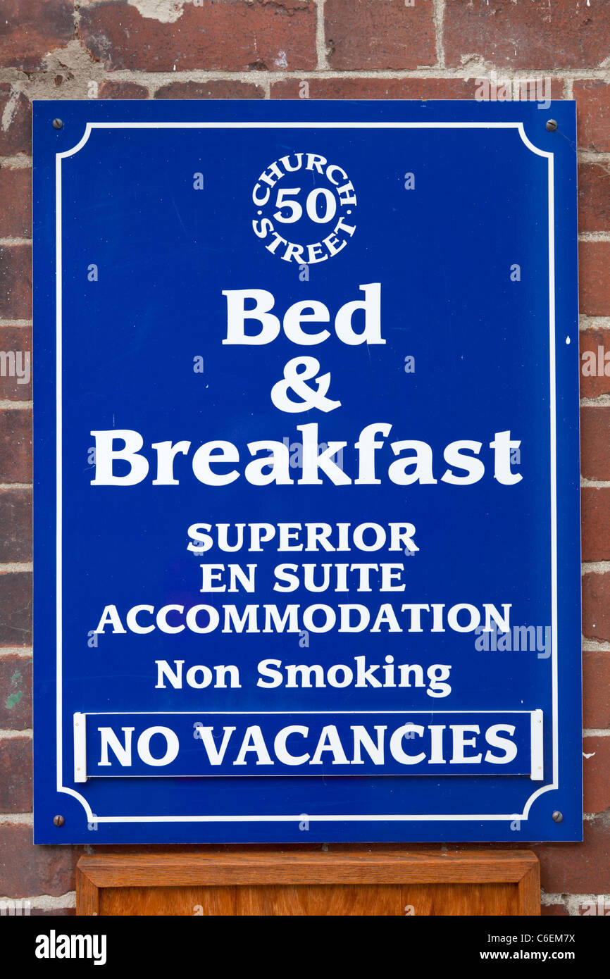 Bed and breakfast pas de postes vacants sign Photo Stock