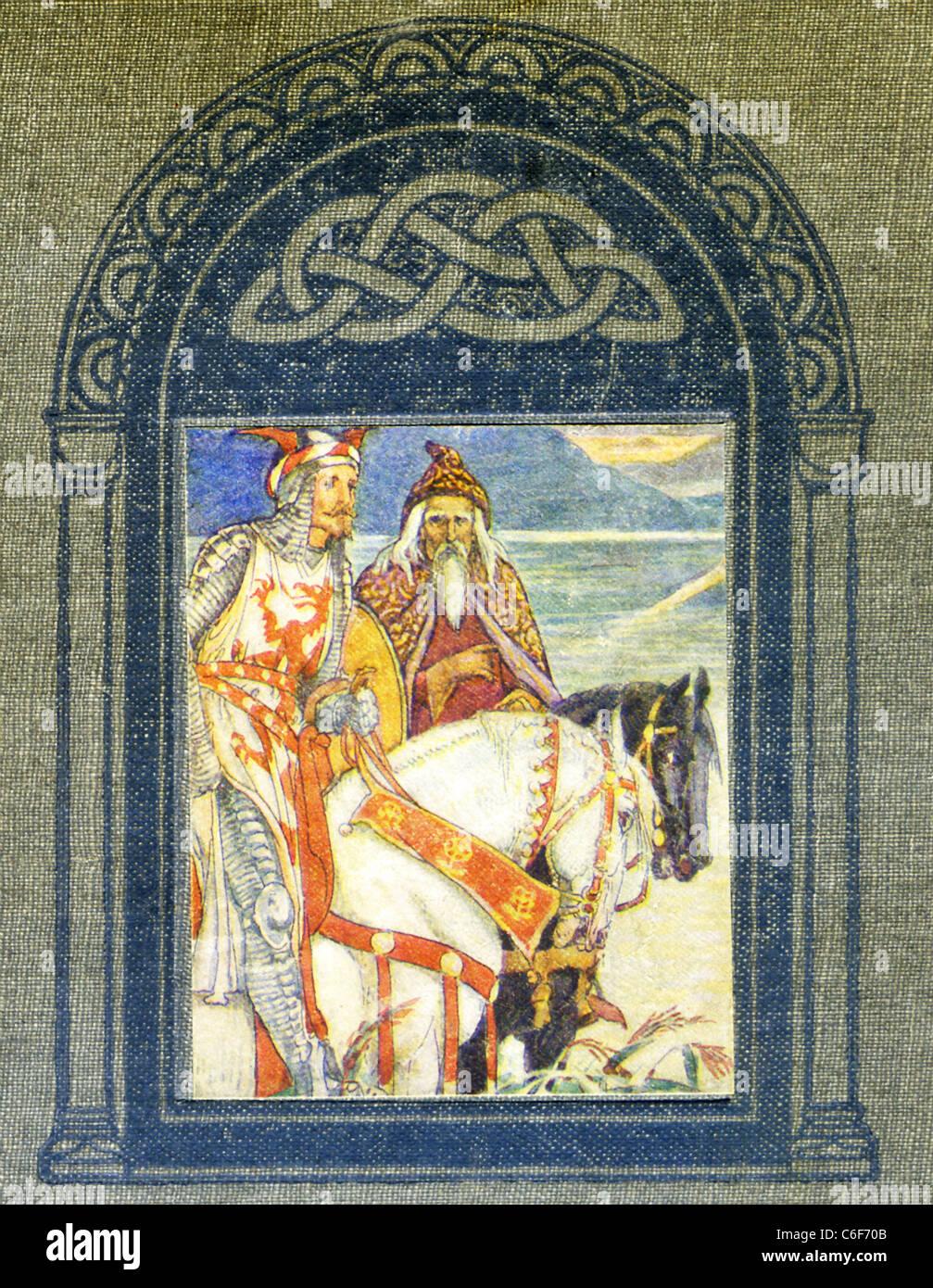 Dans la légende arthurienne, un vaste ensemble d'histoire médiévale que les centres sur le roi Photo Stock