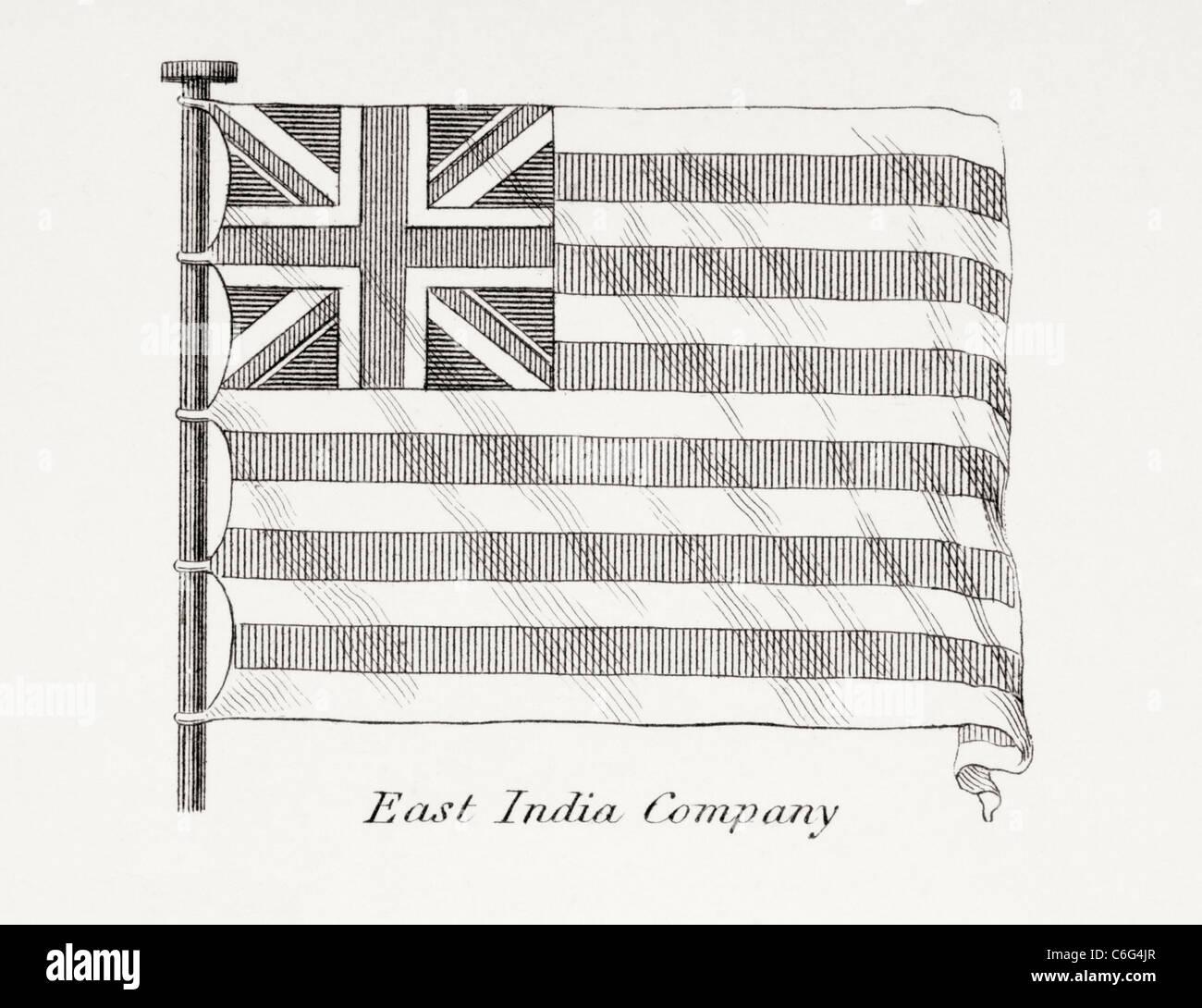 Le drapeau de la Compagnie des Indes orientales. Au début du xixe siècle. Photo Stock