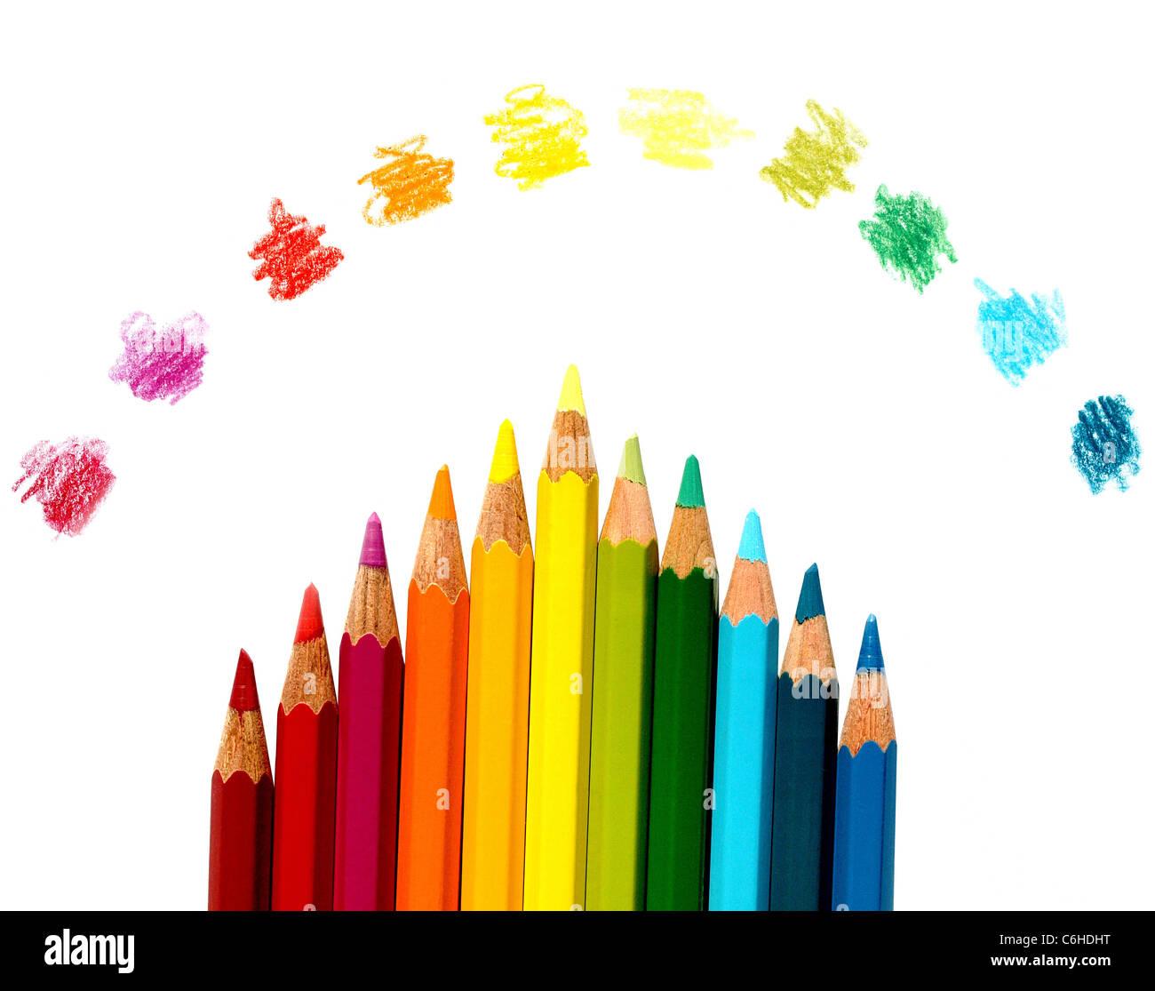 Crayon de couleur multiples pour l'enseignement scolaire Photo Stock