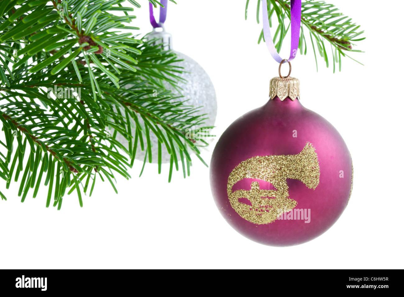 Boule de Noël onn a Christmas Tree branch Photo Stock