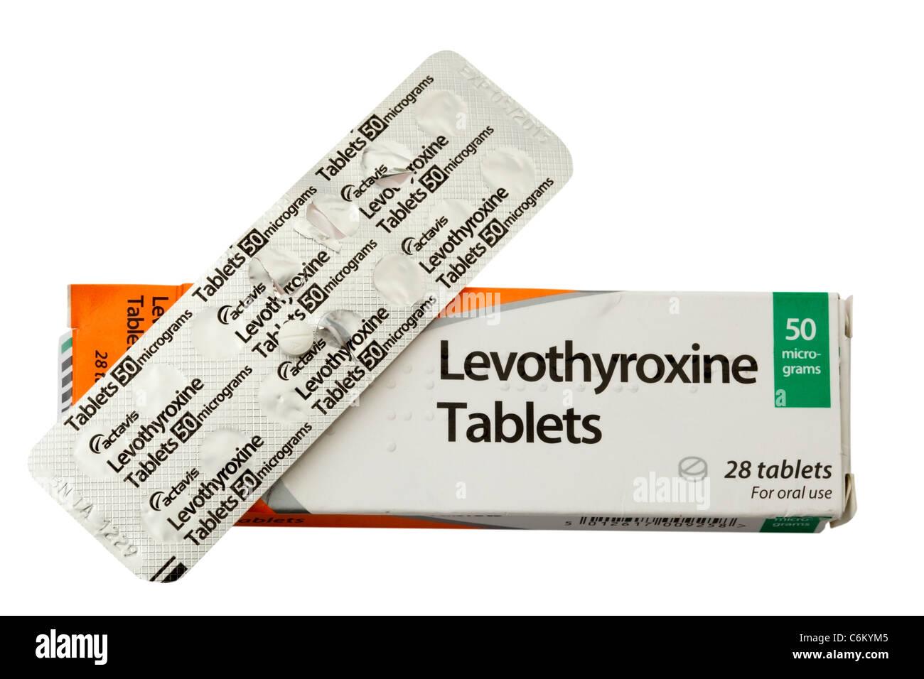 Les comprimés de Lévothyroxine Photo Stock