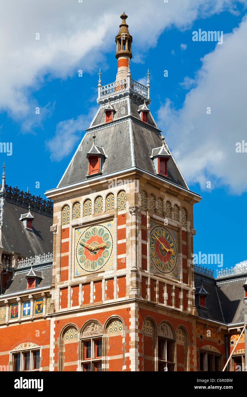 L'Europe, Pays-Bas, Amsterdam, Centraal Station Photo Stock