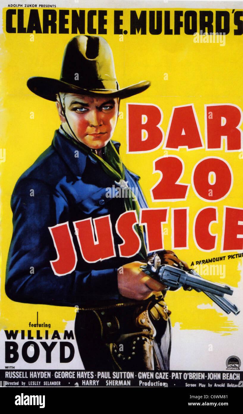BAR 20 LA JUSTICE Affiche pour 1938 Paramount film avec William Boyd Photo Stock