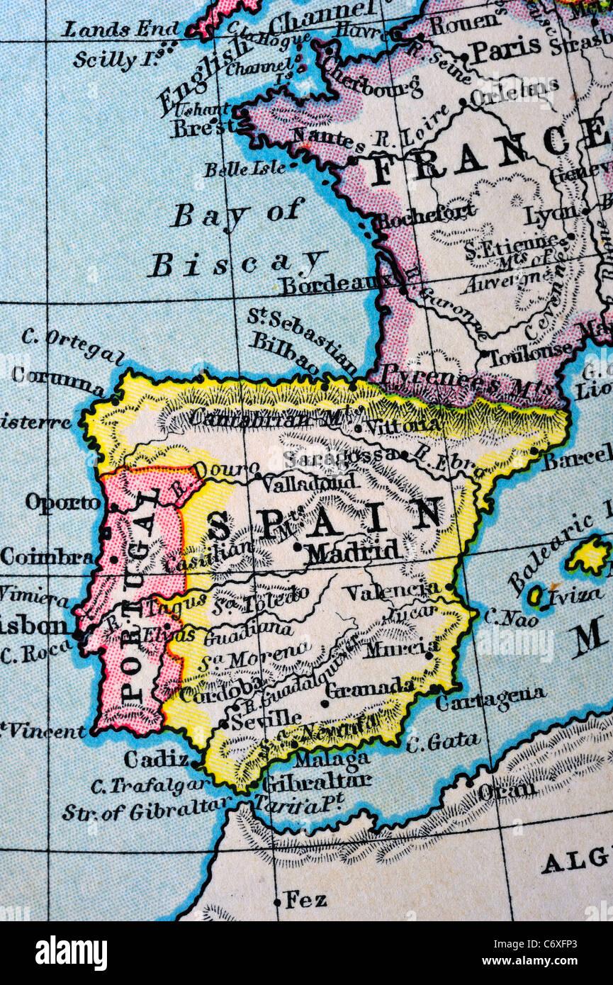 Carte Portugal Espagne France.Macro D Une Vieille Carte De L Atlas Environ 100 Ans De La