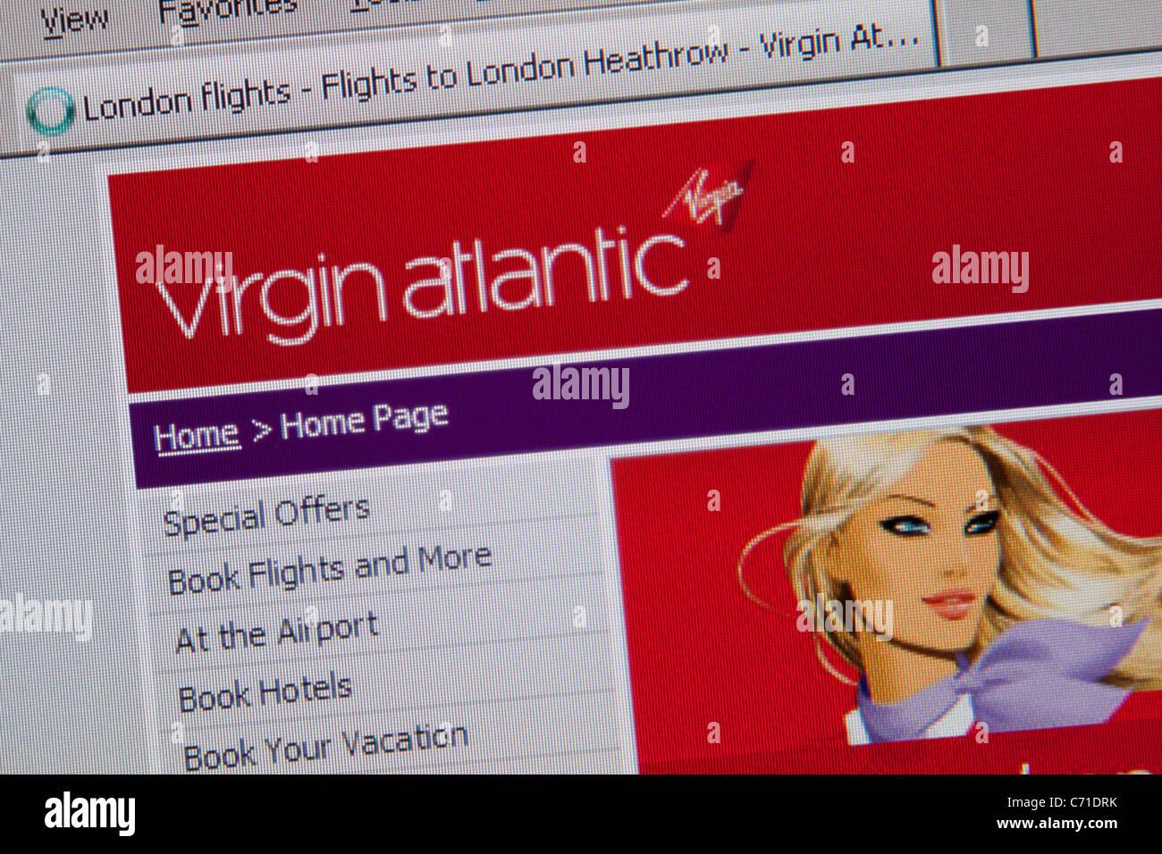 Billet de vol en ligne de Virgin Atlantic Photo Stock