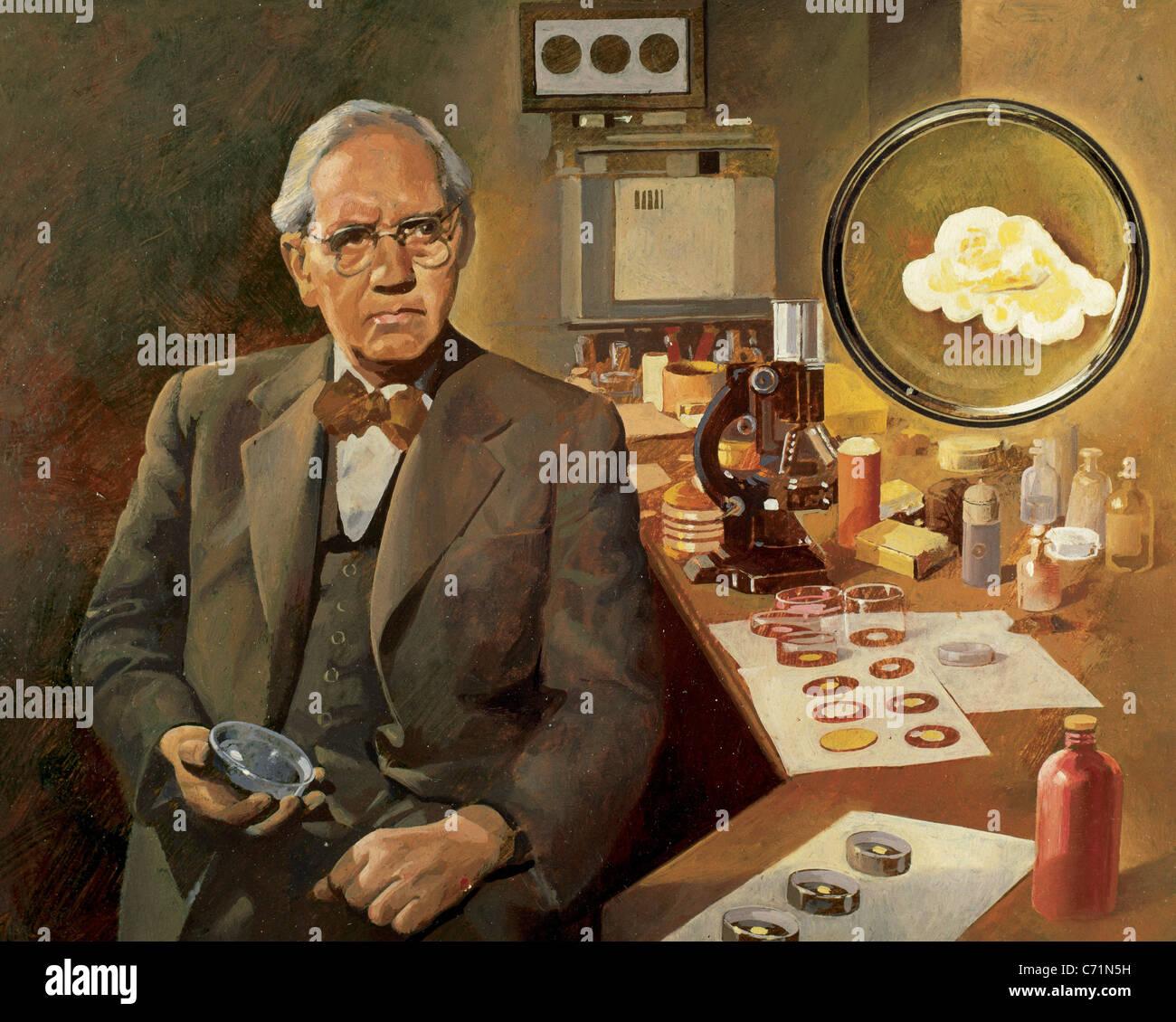 Alexander Fleming (1881-1955). La microbiologiste, découvreur de la pénicilline (1928). Prix Nobel en Photo Stock