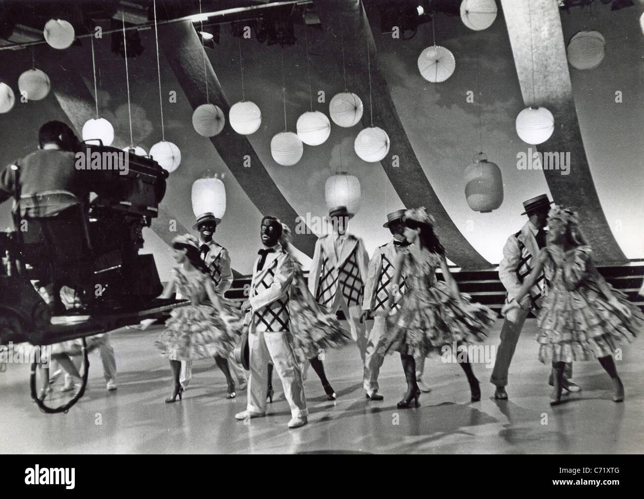 George mitchells minstrels noirs et blancs spectacle de variétés sur bbc tv 1960 photo stock