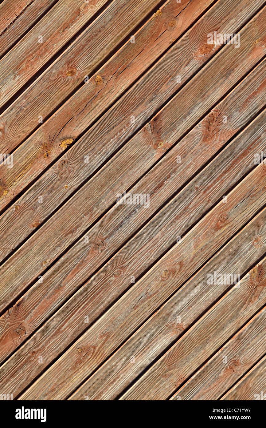 Les planches de bois sur un mur Photo Stock
