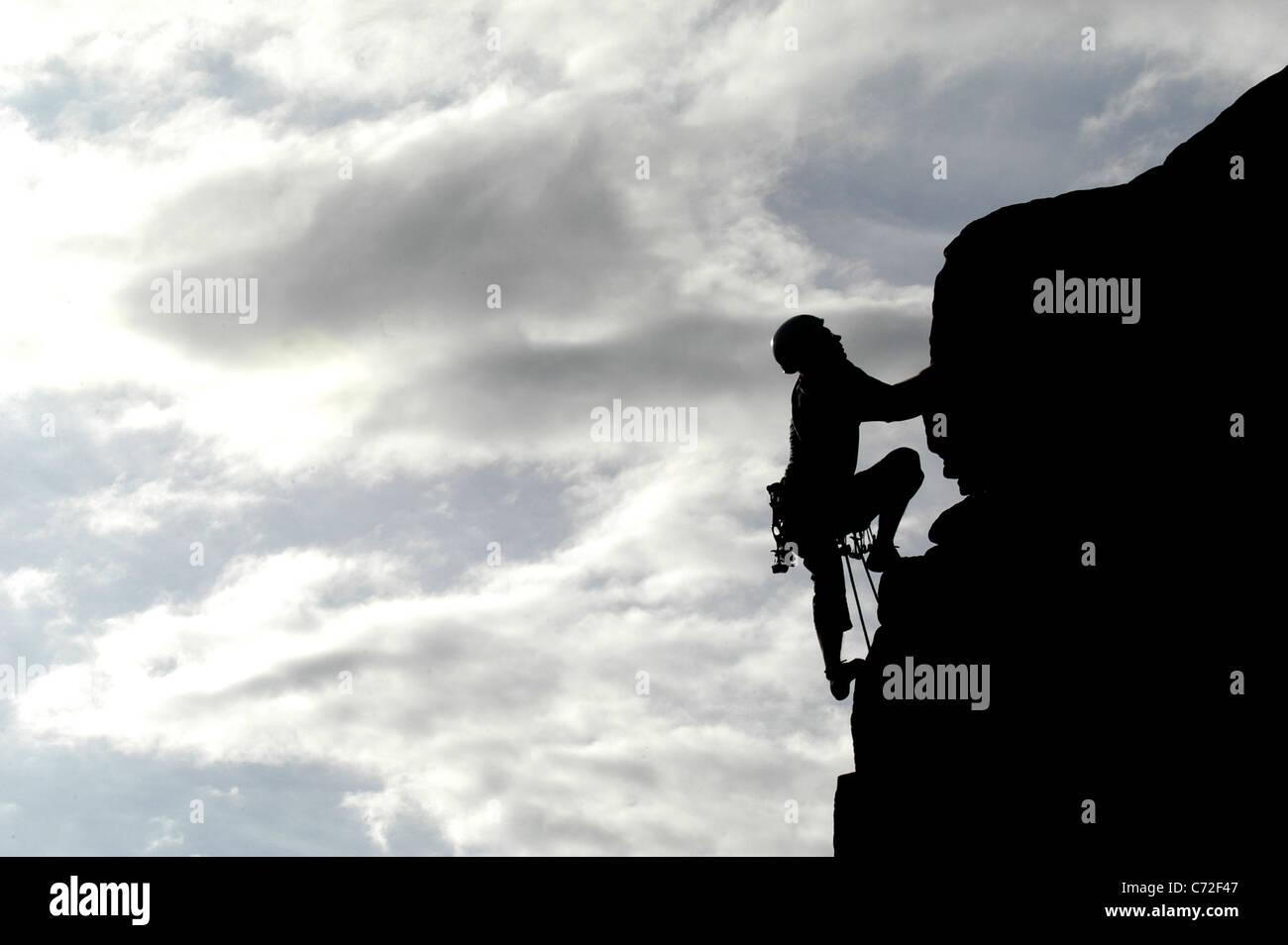 Les grimpeurs Derbyshire, Angleterre, Grande-Bretagne. Photo Stock