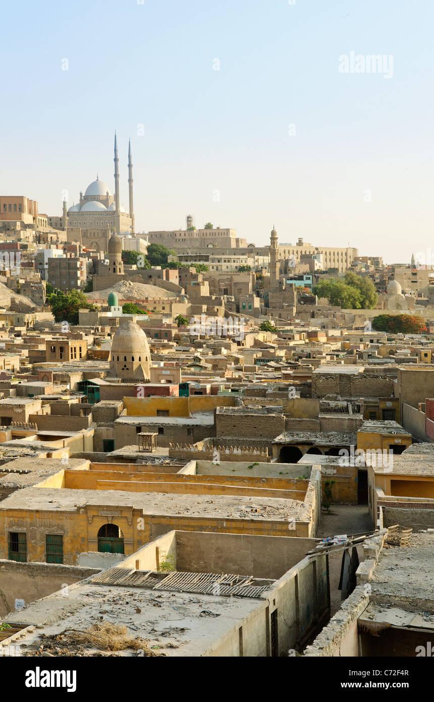Vue sur la vieille ville du Caire en Egypte Photo Stock