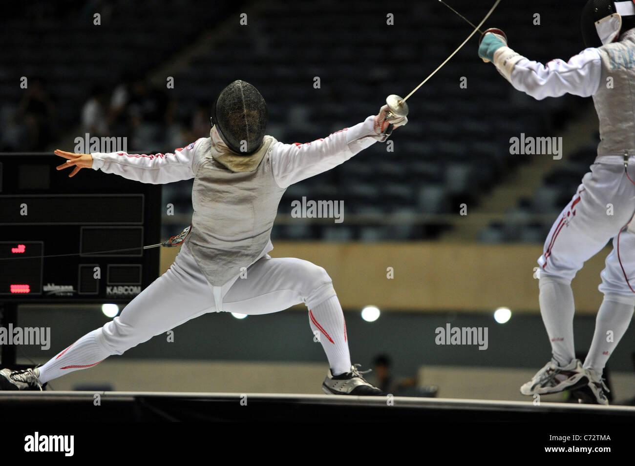 Hanae Ikehata (JPN) combat au cours de la 64ème All Japan escrime à Tokyo, Japon. Photo Stock