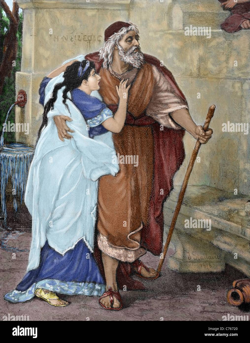 Oedipe. Héros de la mythologie grecque. Œdipe et Antigone. Gravure de M. Weber. De couleur. Photo Stock
