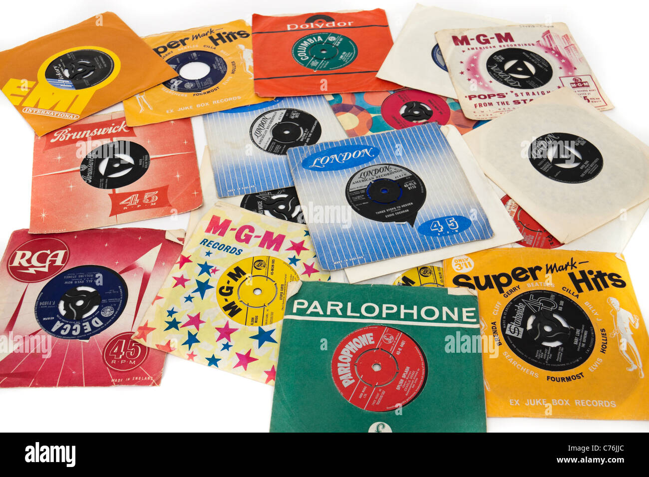 Collection de 1960 vintage 7' vinyl des célibataires / records Photo Stock