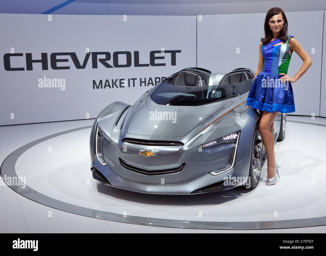 Nouvelle voiture électrique Chevrolet Miray sur l'IAA 2011 International Motor Show de Francfort am Main, Photo Stock